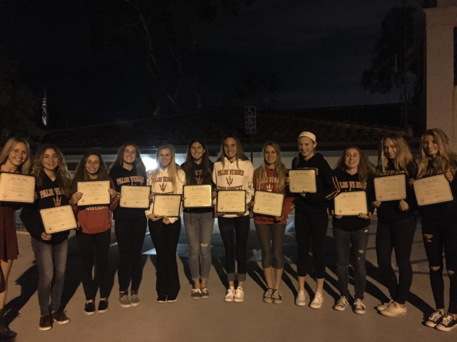 PVHS Girls XC with Certificates