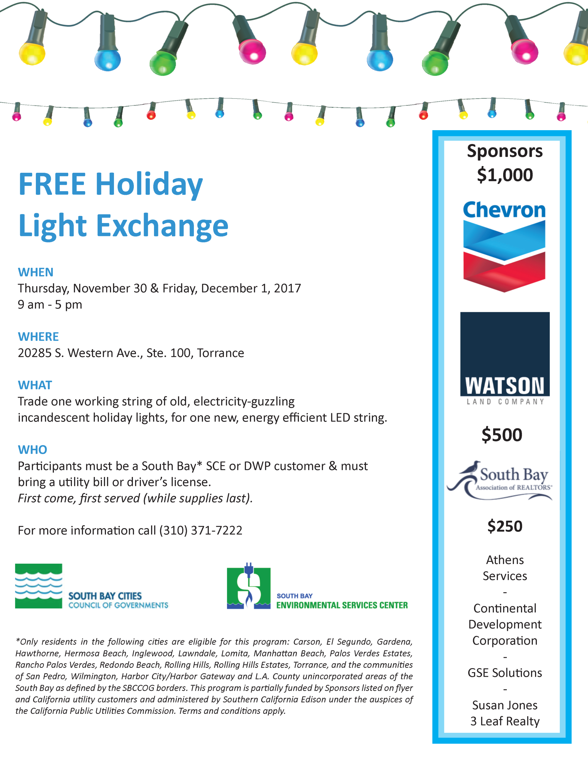 Free Holiday Light Exchange | Event List View | Palos Verdes